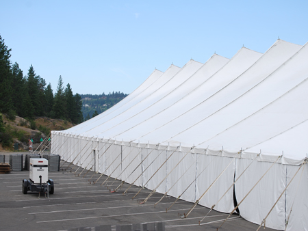 100 ft x 250 ft Twin Pole Parking Side View