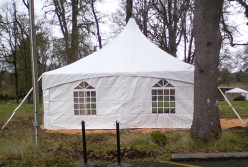 20ft x 20ft Showplace ( High Peak ) Rental tent with French Window Sidewall